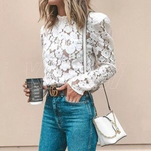 COMING SOON! Puff Sleeve Lace Top Blouse